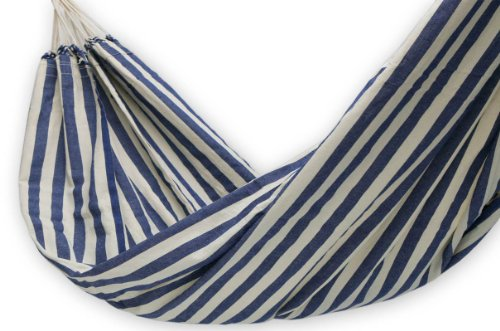 NOVICA Navy Blue White Striped Cotton Fabric 1 Person Brazilian Style Hammock, 'Maritime Brazil' (Single)