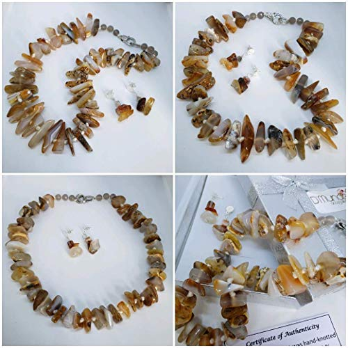 "Natural Agate Set. Agate Necklace and Earrings. Selected Genuine Brazilian Gemstones. Brazilian Stones 20"" inches Necklace."