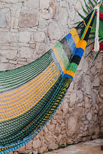 TULUM Hammock - Handmade by Mayan Artisans (Fair Trade) - Multicolor - 100% Nylon - Double Woven Thread