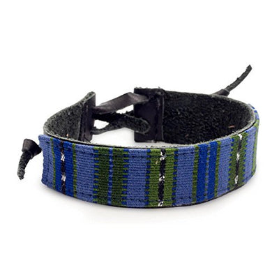 NOVICA Men's Black Leather and Blue and Green Cotton Wristband Bracelet, 'Under the Mayan Sky', 8.5""