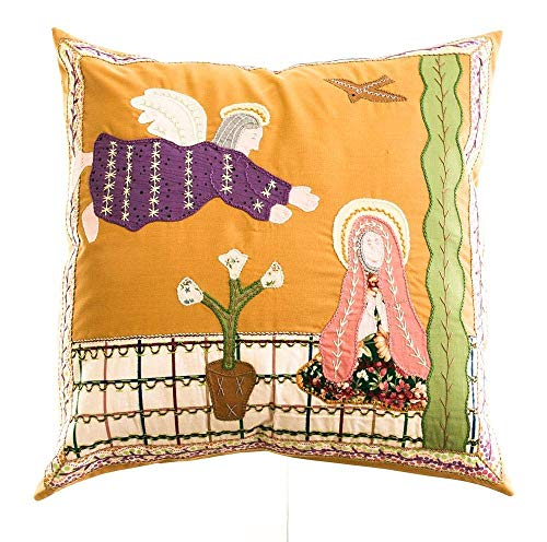 Annunciation of Our Lady Hand Embroidered Throw Pillow