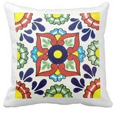 "SJbaby Decorative Throw Pillow Cases Cotton Canvas Cushion Cover Mexican Talavera Figure, 18"" x 18"""