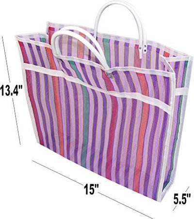 "Pack of 3 Large Size Gusseted Mercado Bags - Mexican Tote Market Reusable Grocery Bag, Multipurpose High Thread Mesh Bag with Assorted Colors (13"" x 15"")"