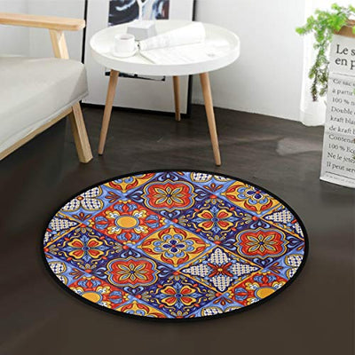Blueangle Mexican Ceramic Tile Pattern Round Rugs Children Play Carpet Area Rug Mat for Bedroom Floor Sofa Living Room