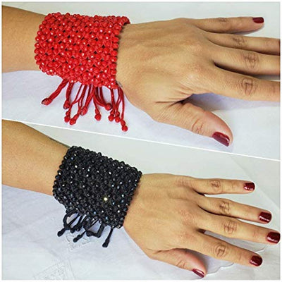 Red Hand Woven Drawstring Bracelet by D'Mundo Accesorios. 240 Crystals Amazing Bracelet. Mother's Day Gift. Adjustable Macrame Bracelet.