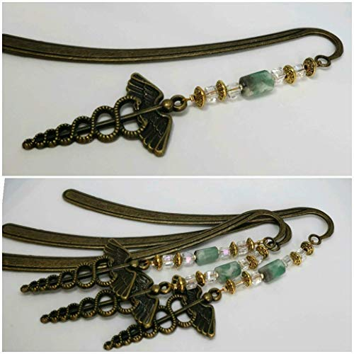 Bookmark with Medical Symbol and Raw Colombian Emerald. Hope, Love and Protection! Gift for Dad. Vintage Bookmark by D'Mundo Accesorios. Bookmark with Caduceus Symbol. Antique Bronze Bookmark