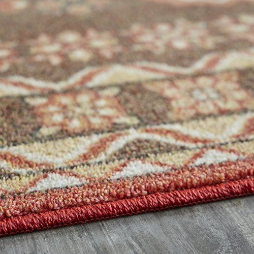 Mohawk Home Prismatic Bryant Brown Aztec Floral Precision Printed Area Rug, 5'x8', Brown and Red