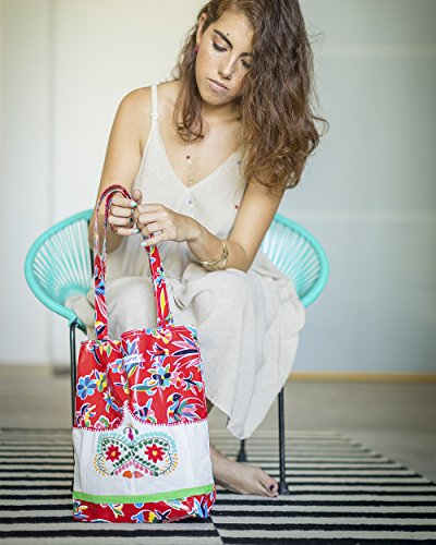 Red Day Tote White Embroidery Oilcloth Handbag