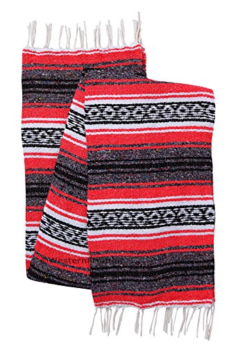 El Paso Designs Genuine Mexican Falsa Blanket - Yoga Studio Blanket, Colorful, Soft Woven Serape Imported from Mexico (Coral)