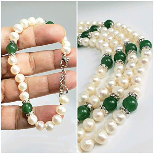 "Freshwater Pearls and Aventurine Bracelet by D'Mundo Accesorios. Genuine Freshwater Pearls Bracelet. Adjustable 7.4""-9"" Bracelet."