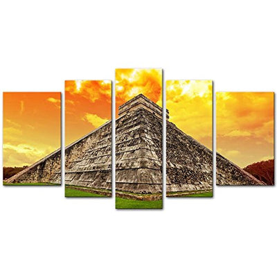 5 Pieces Modern Canvas Painting Wall Art The Picture For Home Decoration Amazing Sky Over Kukulkan Pyramid In Chichen Itza, Mexico Architecture Ruin Print On Canvas Giclee Artwork For Wall Decor