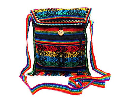 Peruvian Multicolored Tribal Striped Material Casual Travel Lightweight Square Fringe Purse Bag Zipper Pocket Crossbody Strap (Rainbow)