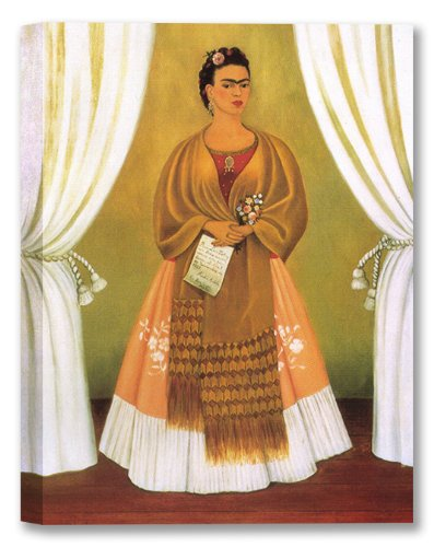 Self Portrait by Frida Kahlo Calo Stretched Canvas Art Print - 28x22in