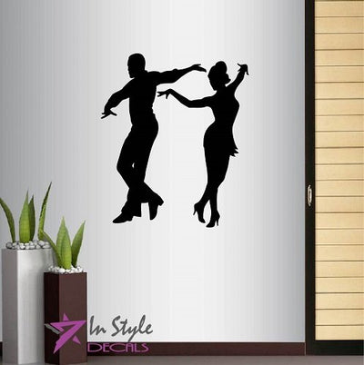Wall Vinyl Decal Home Decor Art Sticker Silhouette Dancing Pair Partners Dance Tango Salsa Samba Studio Class Latino Room Removable Stylish Mural Unique Design For Any Room Creative Design Logo House
