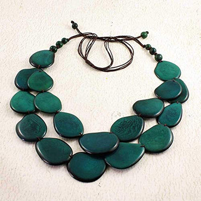 Teal Green Statement Necklace and Earrings Set Made of Tagua Nut