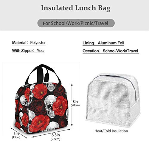 Mexican Sugar Skull Lunch Tote Bag Red Flowers Floral Zipper-Sealed Leak-Proof Portable Thermal Insulation Bag Front Pocket For Work Travel Picnic Kitchen And Restaurant