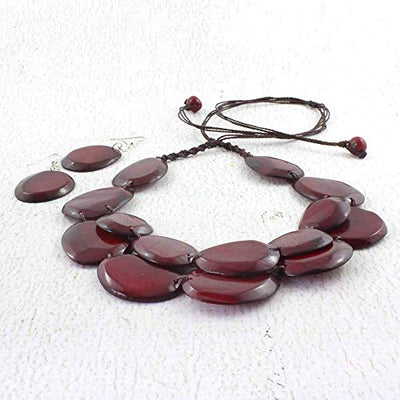 Dark Red Tagua Necklace and Earring Set