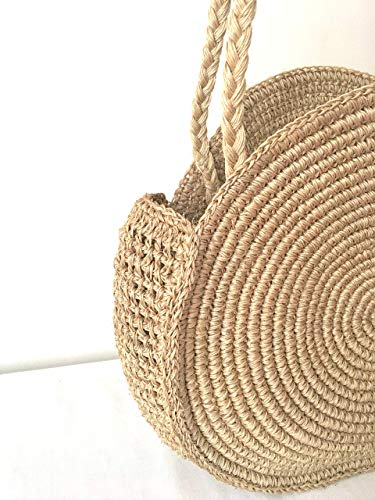 Natural Round Straw Raffia Shoulder bag/Handwoven bag/Market Handbag/Summer Tote/Gifts for her/Handmade/Basket Beach Bag
