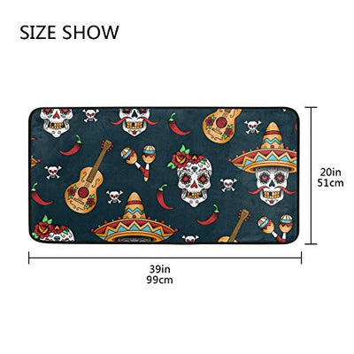 "ALAZA Kitchen Rugs Mexican Sugar Skulls Non-Slip Soft Kitchen Mats Bath Rug Runner Doormats Carpet for Home Decor, 39"" X 20""(a)"