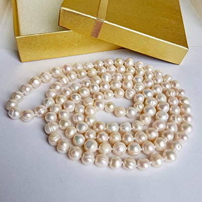 "Long Freshwater Selected Pearls Necklace. Mother's Day Gift. Selected Genuine Freshwater Pearls. One or two strands Pearls Necklace by D'Mundo Accesorios. 47.5"" inches Necklace."