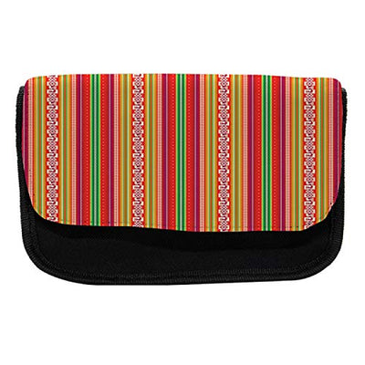 "Lunarable Tribal Pencil Case, Bolivian Folk Birds, Fabric Pen Pencil Bag with Double Zipper, 8.5"" x 5.5"", Multicolor"