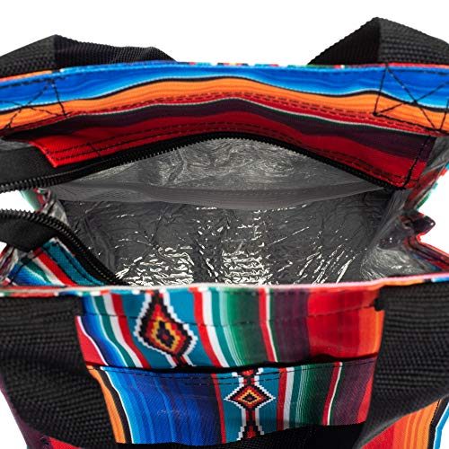 Serape Patterned 11 Inch Insulated Lunch Bag with Front Pocket