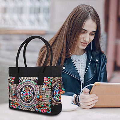 Embroidered Canvas Top Handle Handbag, Ladies Casual Vintage Shoulder Bag Fashion Tassels Handbag (Golden Flower)