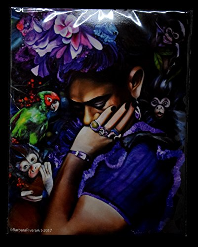 """Purple Frida"" 11W x 14L Inch Original Barbara Rivera Artwork Print"