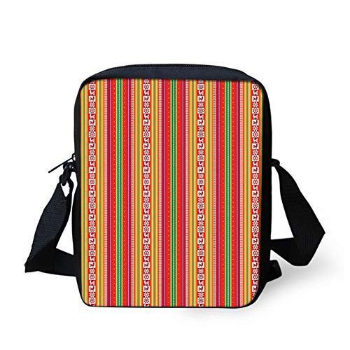 Kids Crossbody Messenger Shoulder Bag,South American Colorful Pattern with Birds Bolivian Traditional Borders