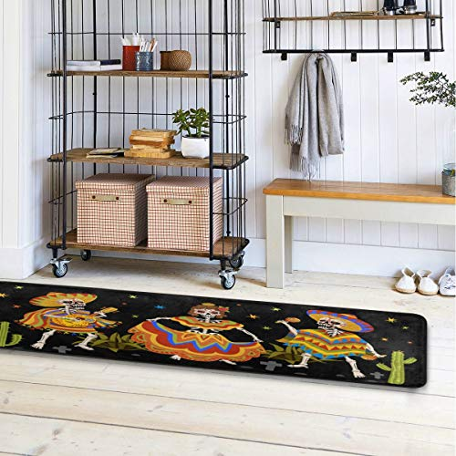 ALAZA Mexican Skeleton Runner Area Rug Non Slip Floor Mat for Hallway Entryway Living Room Bedroom Dorm Home Decor 72x24 inches