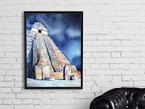 Watercolor Painting Mayan temple and stelae at Tikal Guatemala (print)