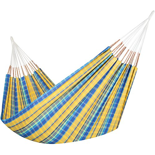 Colombian Hammock - Single 55 inches Wide - Natural Cotton Cloth (Yellow and Blue Plaid)