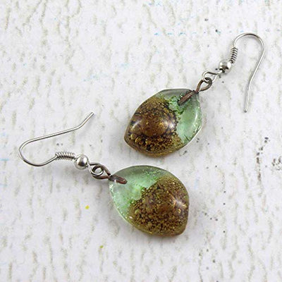 Tear Drop Fused Glass Earrings