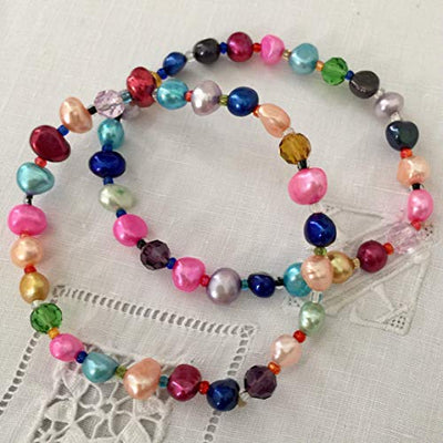 "Multicolor Pearls Bracelets Set. 7.5"" Pearls Stretch Bracelet. Genuine Freshwater Pearls. Love and Happiness Bracelet."