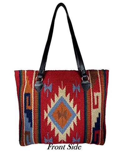 Southwest Boutique Wool Tote Purse Bag Native American Western Style Handwoven (Durango)