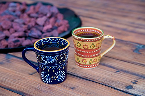 Encantada Coffee Mug Mexican Theme Hand Painted and Custom Made in Mexico. Bright,Colorful, Functional Pottery. Lead Free and Superior Quality.