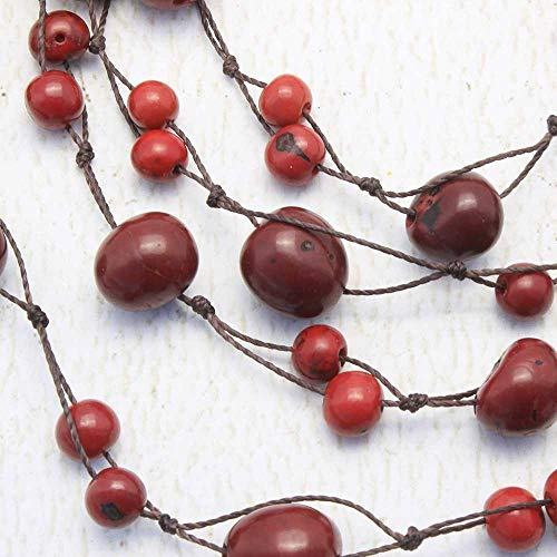 Multistrand Red Statement Necklace with Acai and Macrame