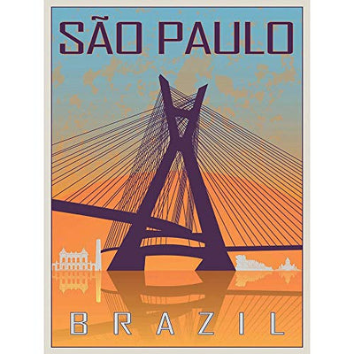Wee Blue Coo Travel Tourism Sao Paulo Brazil Octavio Frias Oliveira Bridge Unframed Wall Art Print Poster Home Decor Premium