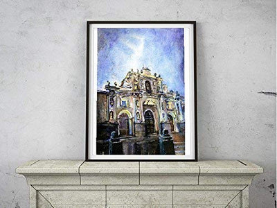 Watercolor painting of Baroque Cathedral at dawn Antigua, Guatemala (print)