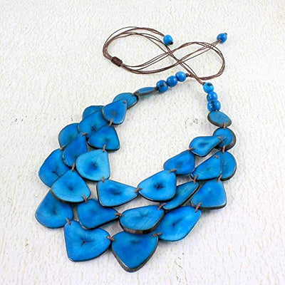 Blue Multi Strand Tagua Nut Necklace and Earring Set