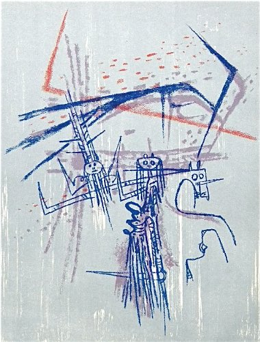 "Wifredo Lam original lithograph ""Les affinites ambigues"" 1963"