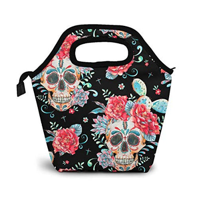 Reusable Lunch Bag,Mexican Sugar Skull Lunch Bag Picnic Office Outdoor Thermal Carrying Gourmet Lunchbox Red Flowers Lunch Tote Container Tote Cooler Warm Pouch For Men,Women