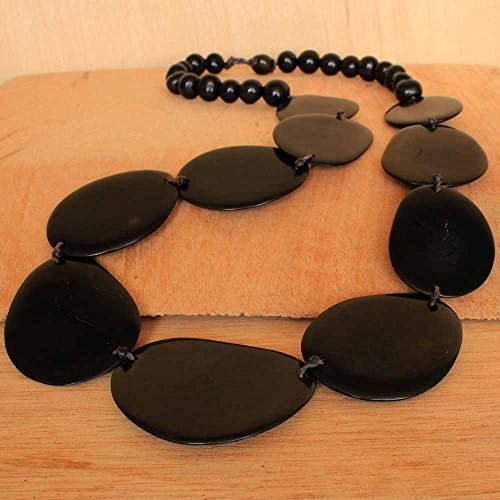 Simple Black Tagua Nut Necklace and Earring Set