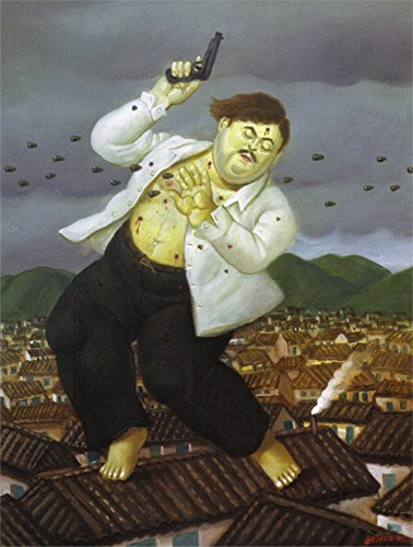 Fernando Botero - Death of Pablo Escobar, Size 24x32 inch, Gallery wrapped canvas art print wall décor