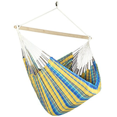 Large Colombian Hammock Chair Lounger - 48 inch - Natural Cotton Cloth (Yellow and Blue Plaid)