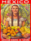 Visit Mexico Girl With Braided Hair and Fruit Mexican Spanish Latin America Vintage Travel Advertisement Art Poster