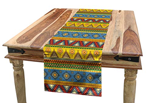 "Lunarable Tribal Table Runner, Peruvian Folkloric Design Circular Triangular Shapes Ornaments, Dining Room Kitchen Rectangular Runner, 16"" X 90"", Blue Yellow"