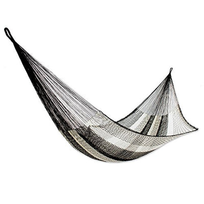 NOVICA Black Nylon Mayan Hammock, 'Night Stripes' (single)