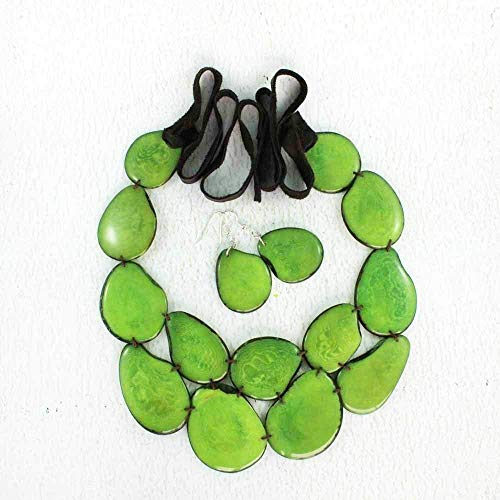 Chunky Green Statement Necklace and Earring Set made of Tagua Nut