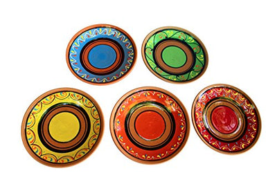 Terracotta Salad Plates Set of 5 - Hand Painted From Spain